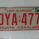 1978 North Carolina NC Passenger YOM License Plate DYA-477 EX