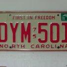 1978 North Carolina NC Passenger YOM License Plate DYM-501 EX