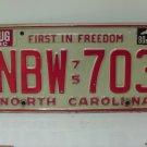 1980 North Carolina NC Passenger YOM License Plate NBW-703 VG