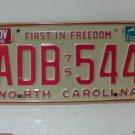 1981 North Carolina NC Passenger YOM License Plate ADB-544 VG