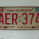 1981 North Carolina NC Passenger YOM License Plate AER-374 VG