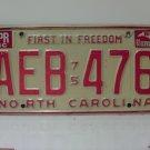 1982 North Carolina NC Passenger YOM License Plate AEB-476 VG