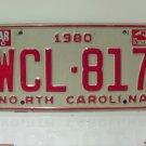 1982 North Carolina NC Passenger YOM License Plate WCL-817 EX-N