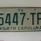 1971 North Carolina NC Truck YOM License Plate 5447-TP EX
