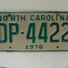 1976 North Carolina NC Truck YOM License Plate DP-4422 VG