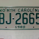 1980 North Carolina NC Truck YOM License Plate BJ-2665 Mint Unissued
