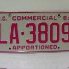 1981 North Carolina NC Apportioned Truck YOM License Plate LA-3809 EX
