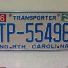 2010 North Carolina NC Transporter License Plate Tag #TP-55498