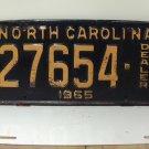 1965 North Carolina NC Dealer License Plate 27654 VG