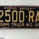 1959 North Carolina Farm Truck Rat Rod License Plate Tag NC #2500-RA YOM