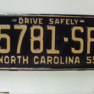 1959 North Carolina Truck Rat Rod License Plate Tag NC #5781-SF YOM