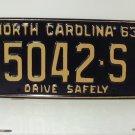 1963 North Carolina Truck Rat Rod License Plate Tag NC #5042-S YOM