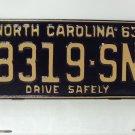 1963 North Carolina Truck Rat Rod License Plate Tag NC #8319-SN YOM