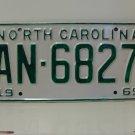 1969 North Carolina Rat Rod License Plate Tag NC #AN-6827 YOM