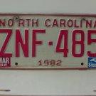 1983 North Carolina NC Passenger YOM License Plate ZNF-485 VG-N