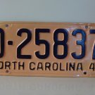 1949 North Carolina Rat Rod Dealer License Plate Tag NC #D-25837 YOM