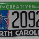 2020 North Carolina ARTS License Plate NC 2092RT