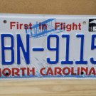 2016 North Carolina License Plate NC DBN-9115