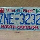 2010 North Carolina NC License Plate ZNE-3232
