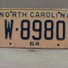 1964 North Carolina NC License Plate W-8980 YOM