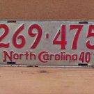 1940 North Carolina NC License Plate 269-475 Altered Date