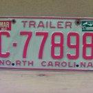 1993 North Carolina NC Trailer License Plate C-77898