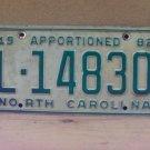 1982 North Carolina NC Apportioned Trailer License Plate L-14830