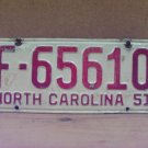 1951 North Carolina Common Carrier Truck License Plate NC F-65610