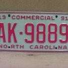 1991 North Carolina Truck License Plate Tag NC AK-9889
