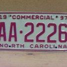 1997 North Carolina NC Truck License Plate AA-2226
