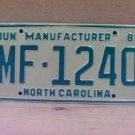 1981 North Carolina NC Manufactuer Dealer License Plate MF-1240