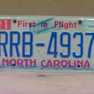 2005 North Carolina NC License Plate RRB-4937 LTQ