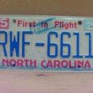 2005 North Carolina NC License Plate RWF-6611 LTQ