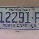 1970s North Carolina Permanent License Plate NC #12291-P