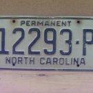 1970s North Carolina Permanent License Plate NC #12293-P