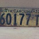 1932 North Carolina Truck License Plate NC 60177-T