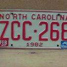 1983 North Carolina NC Passenger YOM License Plate ZCC-268 VG-N