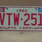 1983 North Carolina Passenger YOM License Plate EX NC VTW-251