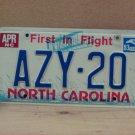 1983 North Carolina Passenger YOM License Plate EX NC AZY-20