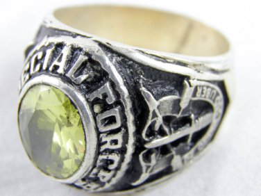 ring vietnam era military war gear collectibles SIZE 10 Yellow U.S Special Force