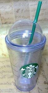 Lid Cold Cup Starbucks Dome 16 Oz Travel Mug Tumbler Green Straw Coffee 16oz New