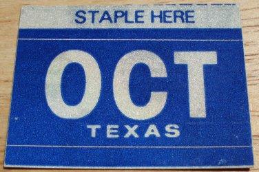 "TEXAS MONTH PLATE STICKER""OCTOBER"""