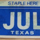 "TEXAS MONTH PLATE STICKER""JULY"""