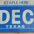 "TEXAS MONTH PLATE STICKER""DECEMBER"""