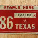 1986 TEXAS PLATE RENEWAL STICKER