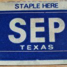 "TEXAS MONTH PLATE STICKER""SEPTEMBER"""