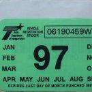 "1997 ORIGINAL TEXAS PLATE RENEWAL WINDSHIELD STICKER""UNUSED"""
