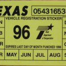 "1996 TEXAS PLATE RENEWAL WINDSHIELD STICKER""UNUSED"""