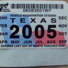 "2005 ORIGINAL TEXAS PLATE RENEWAL WINDSHIELD STICKER""UNUSED"""