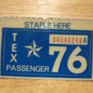 1976 TEXAS LICENSE PLATE STICKER